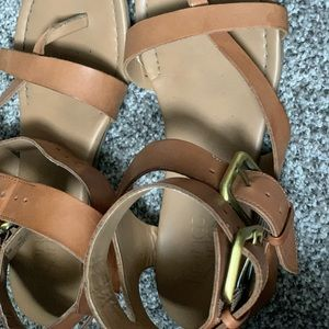 Tan leather cross sandals size 7
